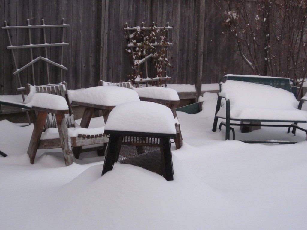 patio covered in snow