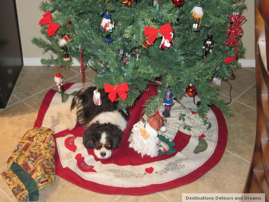 dog under Christmas tree