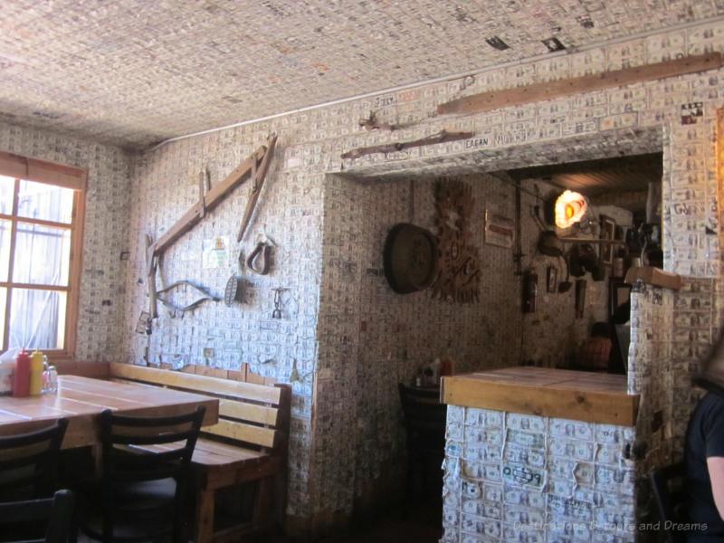 Dollar bills on restaurant walls at Tortilla Flat