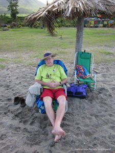 Sitting in a chair on the beach in Nevis