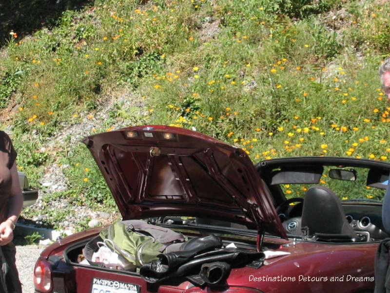 Overload trunk of a Mazda Miata