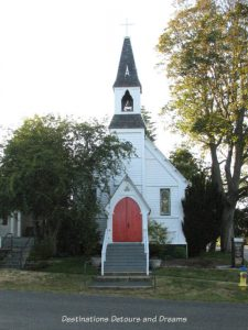 White wooden church with steeple in Port Townsend, Washington