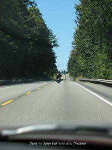 Motorcyle on the highway in the Olympic Peninsula, Washington state
