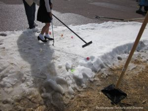 """""""Canadian"""" golf on a patch of snow at The Great Canadian Picnic"""
