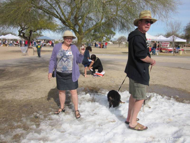 Standing on a small patch of snow wearing shorts at the Great Canadian Picnic