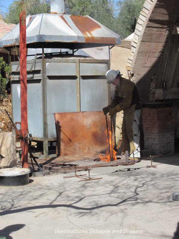 Melting bronze at Cosanti, Paradise Valley, Arizona