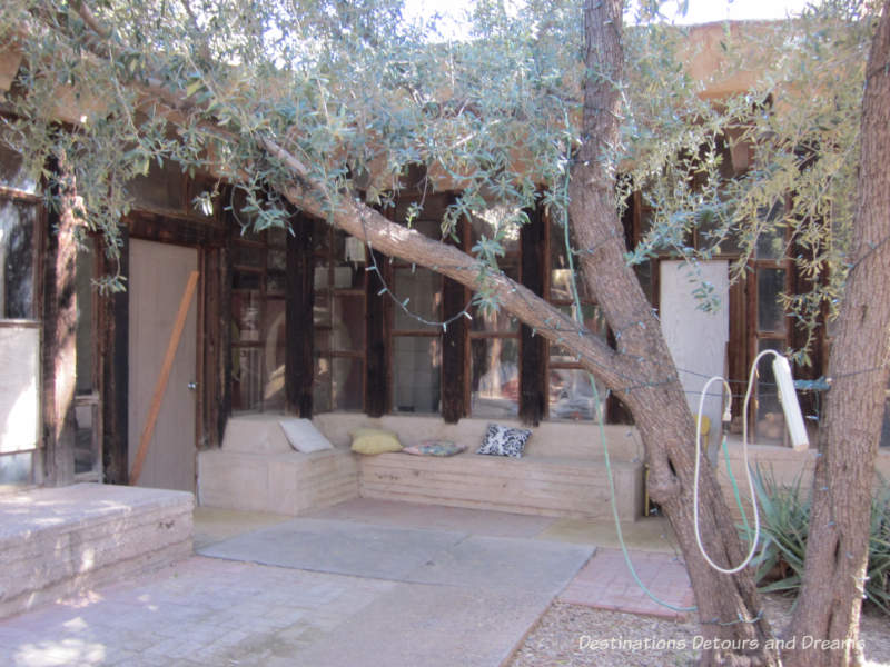 Seating area outside student residence at Cosanti, Paradise Valley, Arizona