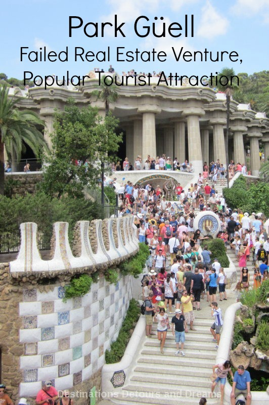 Parc Guell in Barcelona, Spain is a popular park and tourist attraction, but was initially a failed real estate venture