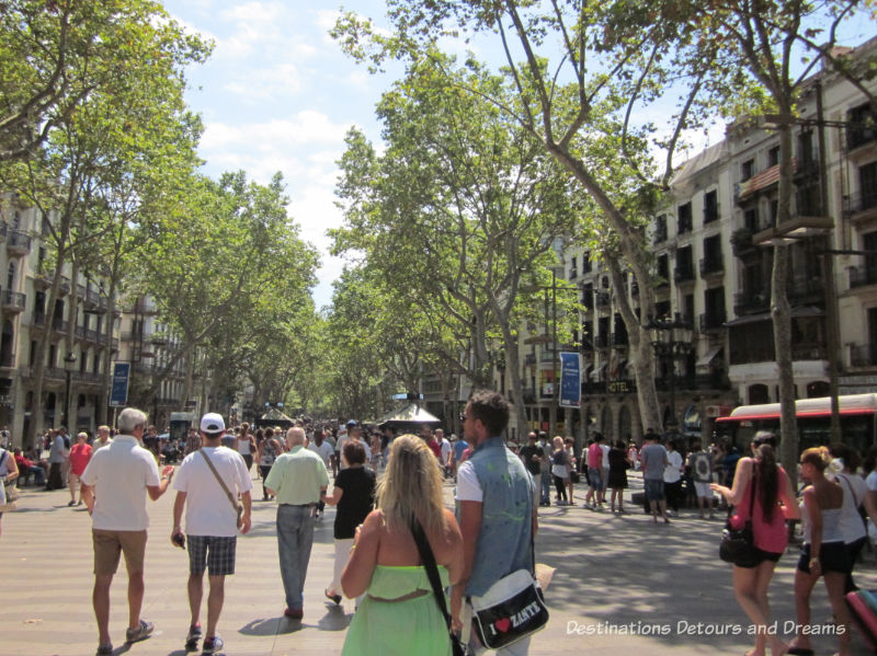 Las Ramblas. Guide to exploring Barcelona on foot: Las Ramblas, the Gothic Quarter, the Eixemple district, and the beach