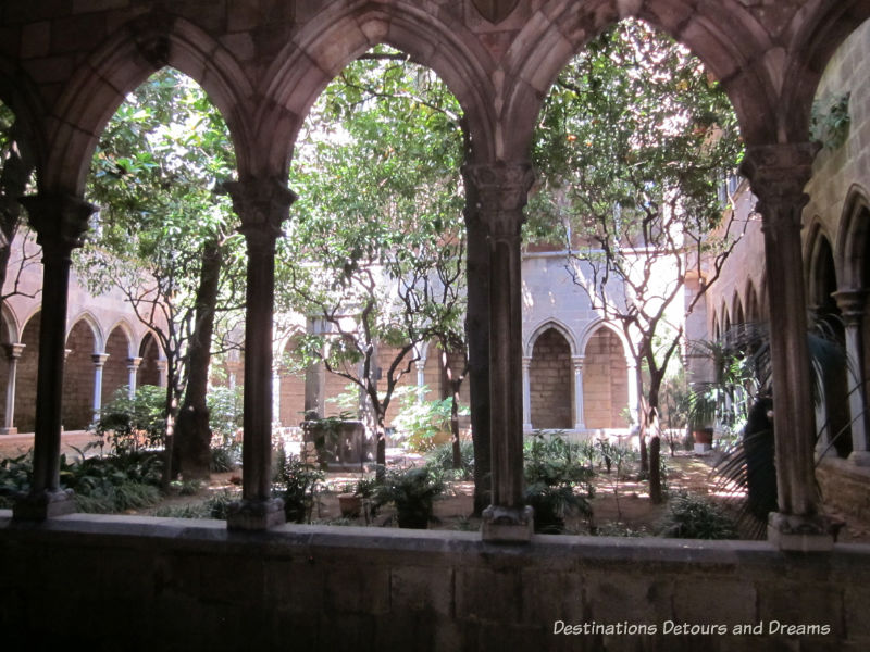 Cloister at 12th century Church of Santa Anna. Guide to exploring Barcelona on foot: Las Ramblas, the Gothic Quarter, the Eixemple district, and the beach