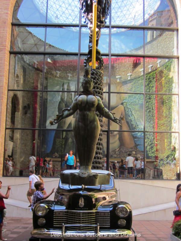 Cadillac in museum atrium at Dali Theatre-Museum in Figueres Spain