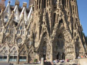 Exterior of UNESCO historic site La Sagrada Familia in Barcelona, Spain