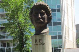 Louis Riel statue in front of St. Boniface Museum in Winnipeg, Manitoba, Canada