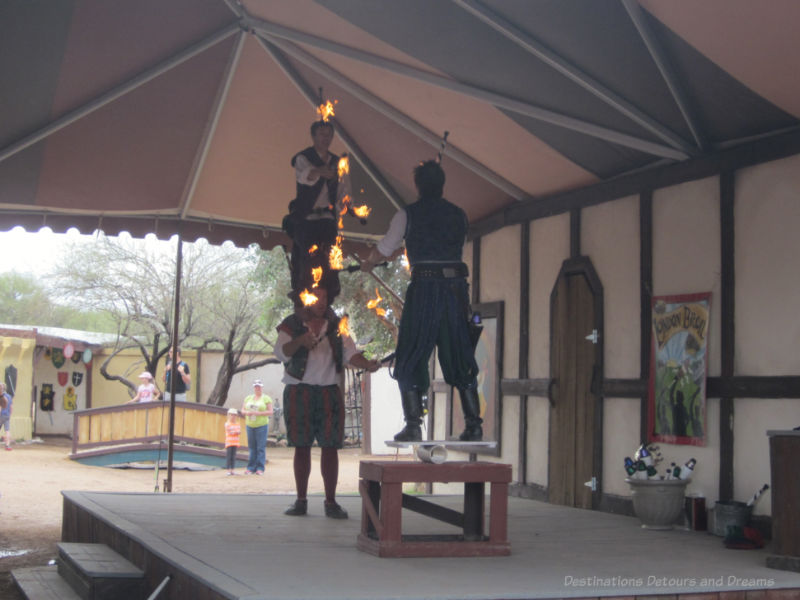 Team fire jugglers at Arizona Renaissance Festival