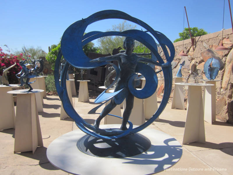Sculpture garden at Taliesin West featuring work of Taliesin Fellow Heliose Crista
