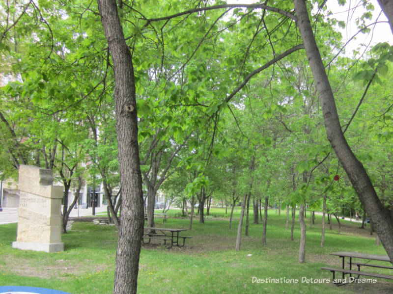 Stephen Juba Park in Winnipeg's historic Exchange District - a walking tour of the East exchange area.
