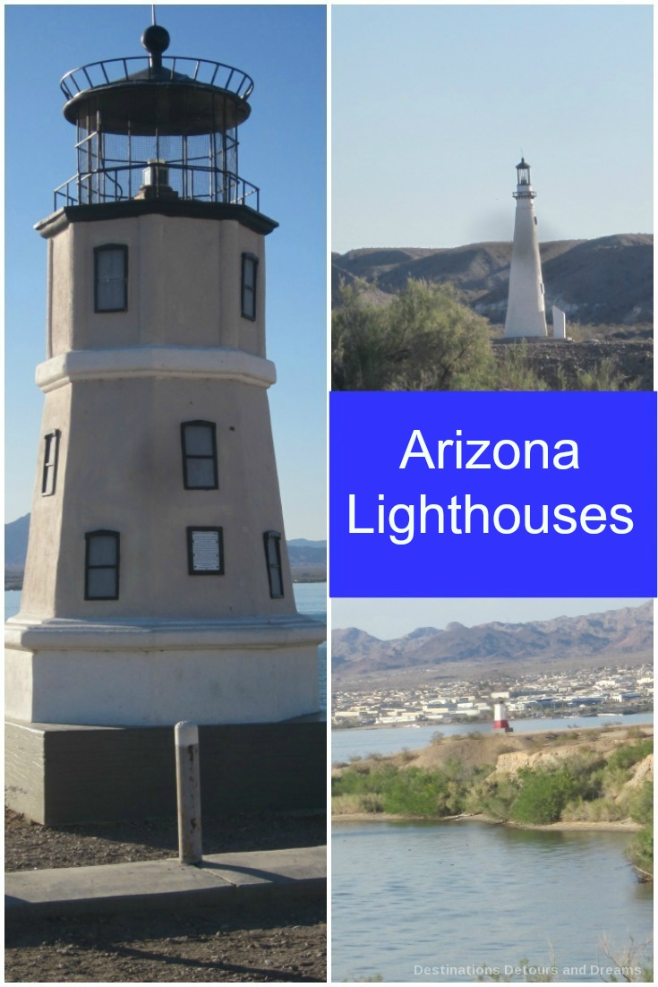Lighthouses at Lake Havasu, Arizona: one-third scale working replicas of famous lighthouses