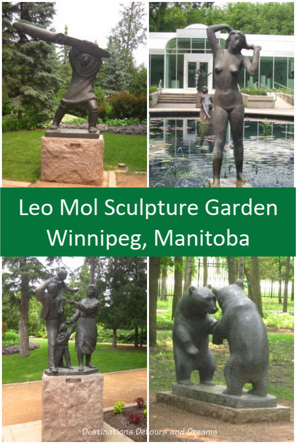 Leo Mol Sculpture Garden in Winnipeg's Assiniboine Park: Bronze pieces of art by master sculpture Leo Mol amid trees and flowers in a Winnipeg park. #sculpture #art #garden #Winnipeg #Manitoba
