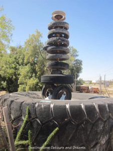 Tire sculpture at the World's Smallest Museum