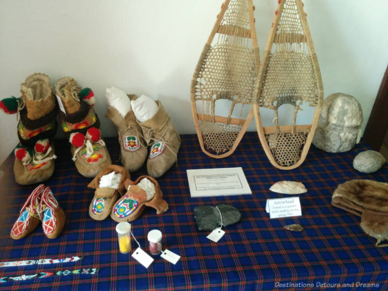 Display of moccasins and snowshoes