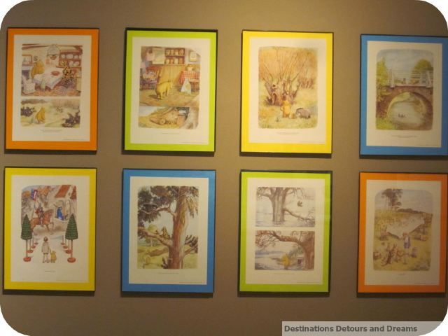 A wall of Winnie The Pooh illustrations