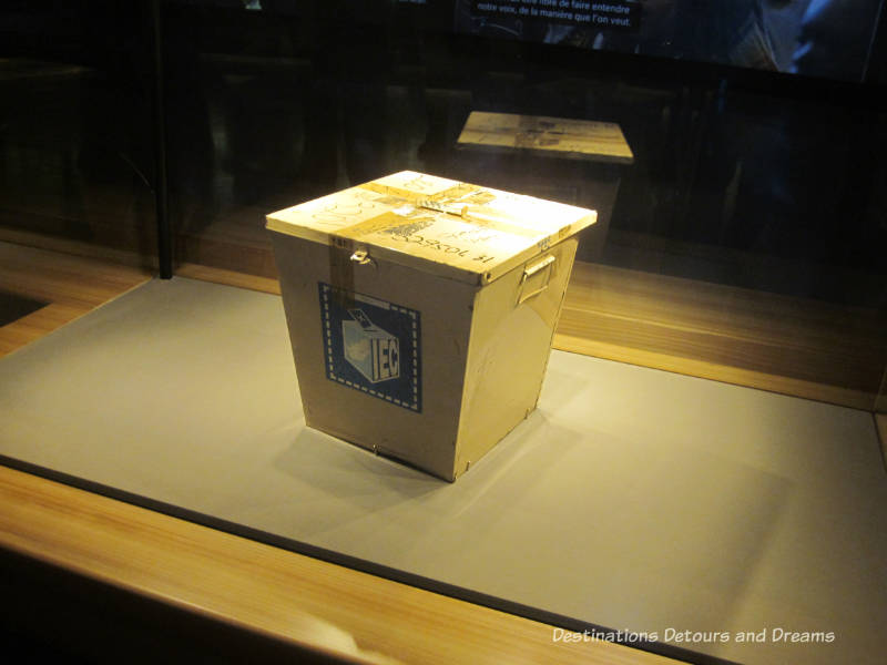 Ballot box from 1994 South Africa election on display inside the Canadian Museum for Human Rights, Winnipeg, Manitoba