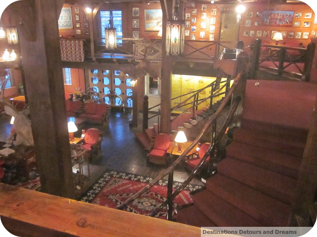 Lobby and staircase at El Rancho Hotel