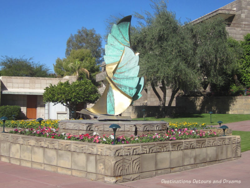 Sculpture bu Heloise Crista on the Arizona Biltmore Jewel of the Desert tour: luxurious history and Frank Lloyd Wright connections in Phoenix