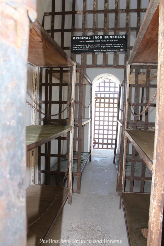 Iron bunk beds at Yuma Prison Museum in Yuma, Arizona