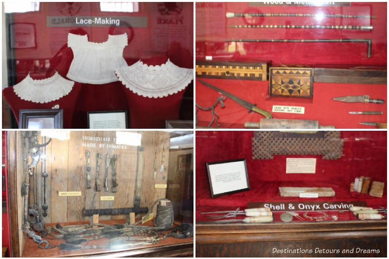 Displays of prison crafts at Yuma Prison Museum