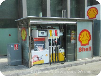 Barcelona sidewalk gas station