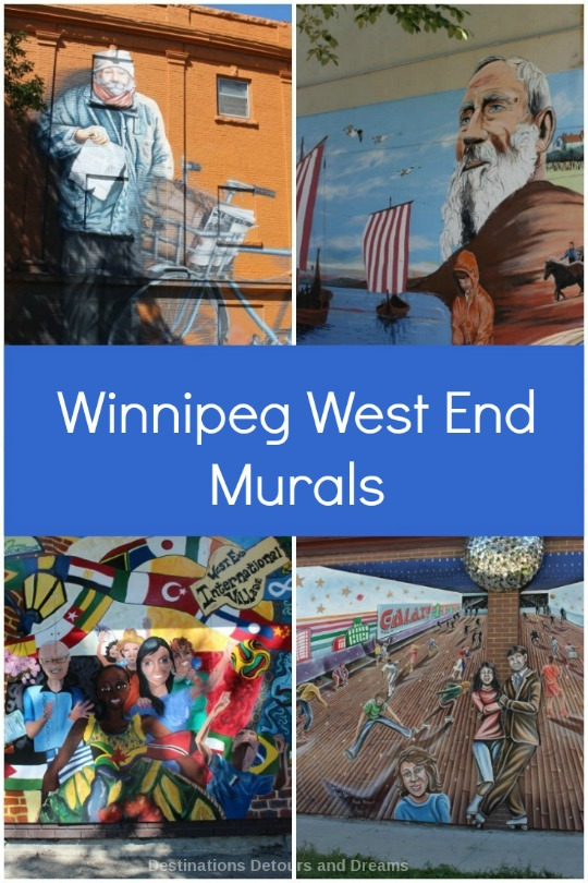 Murals in Winnipeg's West End show history and culture of the area. Tours available.