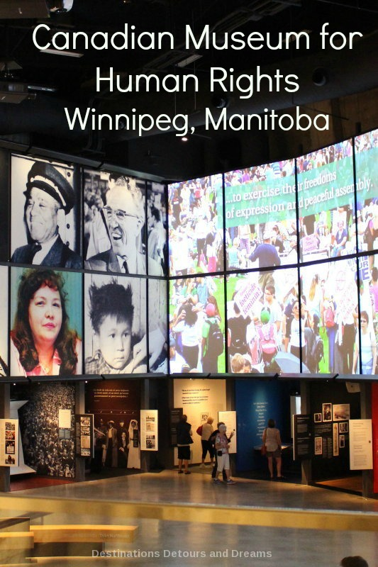 Exploring galleries inside the Canadian Museum for Human Rights in Winnipeg, Manitoba