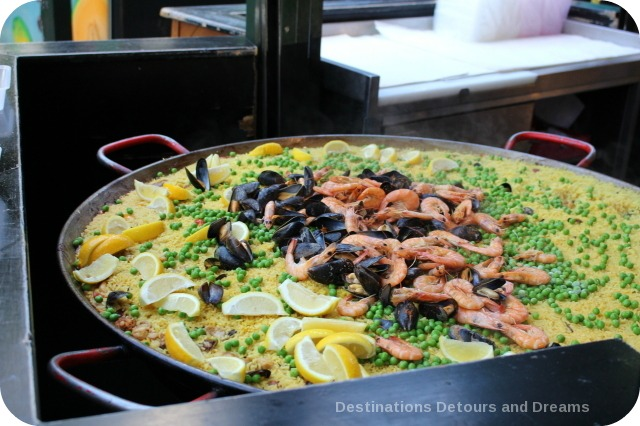 Paella cooking at Borough Market