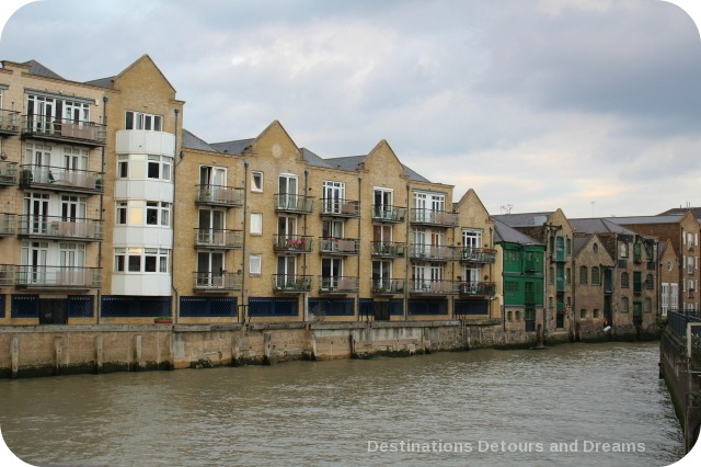 London from the Thames: older Docklands area