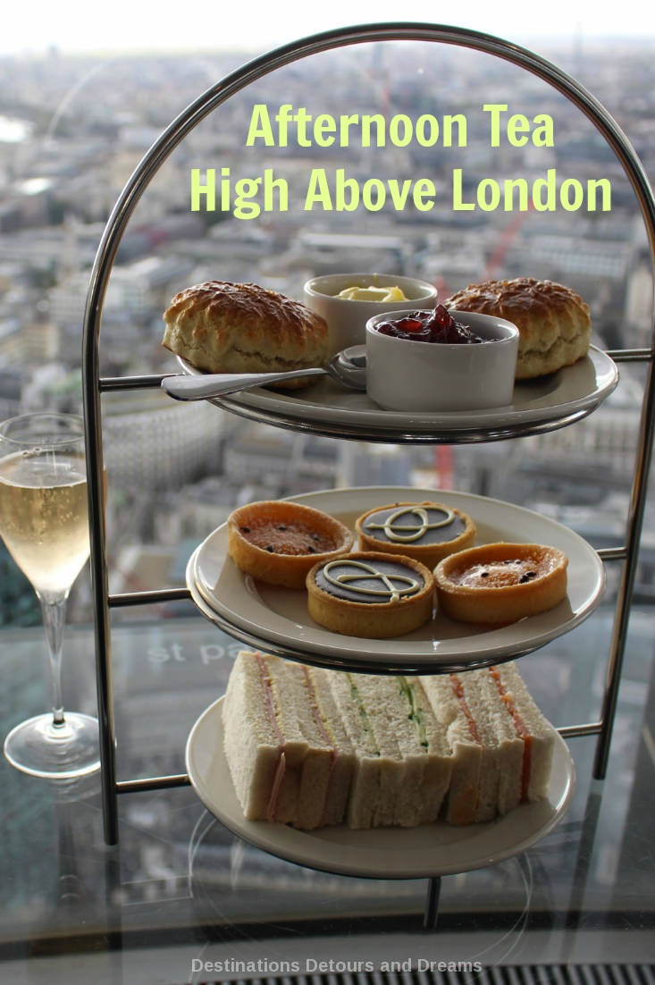 Tea with aerial London views from the 42nd floor at Vertigo 42 Champagne Bar. #scrumptious #London #afternoontea #views #tea