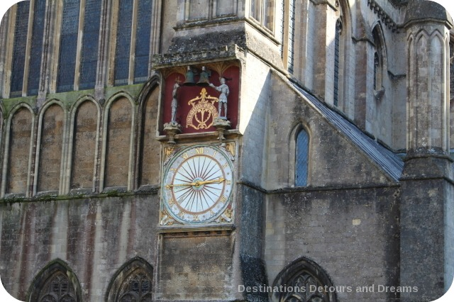 Wells Cathedral exterior view of clock
