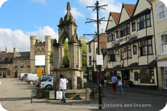 Medieval cathedral city of Wells - fountain at foot of Market Place