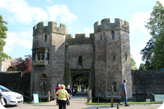 Medieval cathedral city of Wells - gate across moat to Bishop's Palace