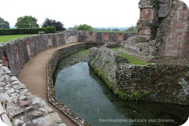 Raglan Castle moat around Great Tower