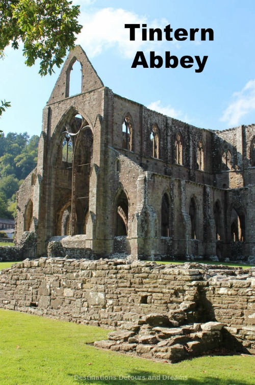 Tintern Abbey: Cistercian monastery ruins and scenic countryside in the Wye Valley in south Wales