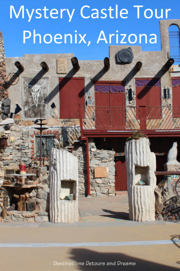 Mystery Castle Tour, Phoenix Arizona - a quirky, innovative house with an unusual history #Phoenix #Arizona #castle #quirky #housetour