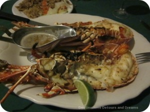Lobster dinner at Seafood Madness, Nevis