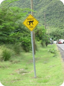 Road sign in Nevis