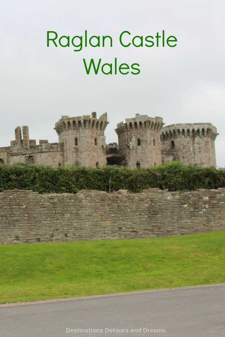 Raglan Castle; impressive ruins of a late medieval castle in southeast Wales