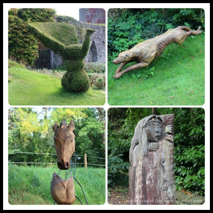 Usk Castle garden art