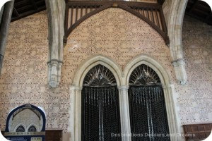 Wandering Through Winchester - writing on the Great Hall wall