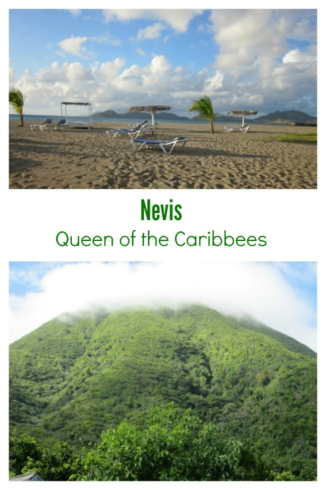 Lush foliage and ocean view of Nevis, Queen of the Caribbees