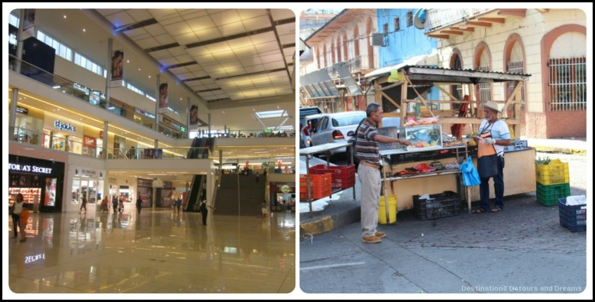 Metromall Mall and a fruit stand in Panama City