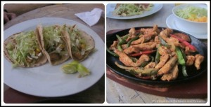 Fish tacos and chicken fajitas